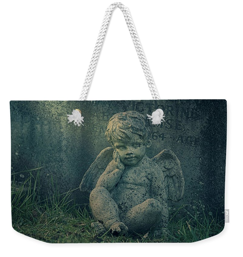 Anglican Weekender Tote Bag featuring the photograph Cherub Lost In Thoughts by Monika Tymanowska