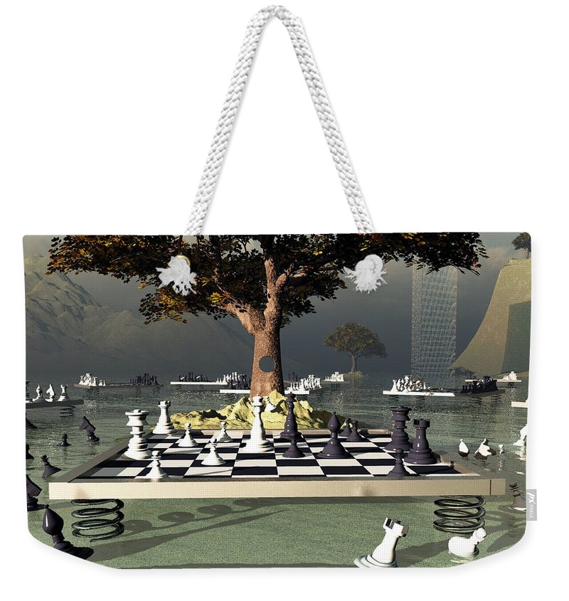 Chess Weekender Tote Bag featuring the digital art Chess Tournament - Tournoi D'echecs by R Fafard