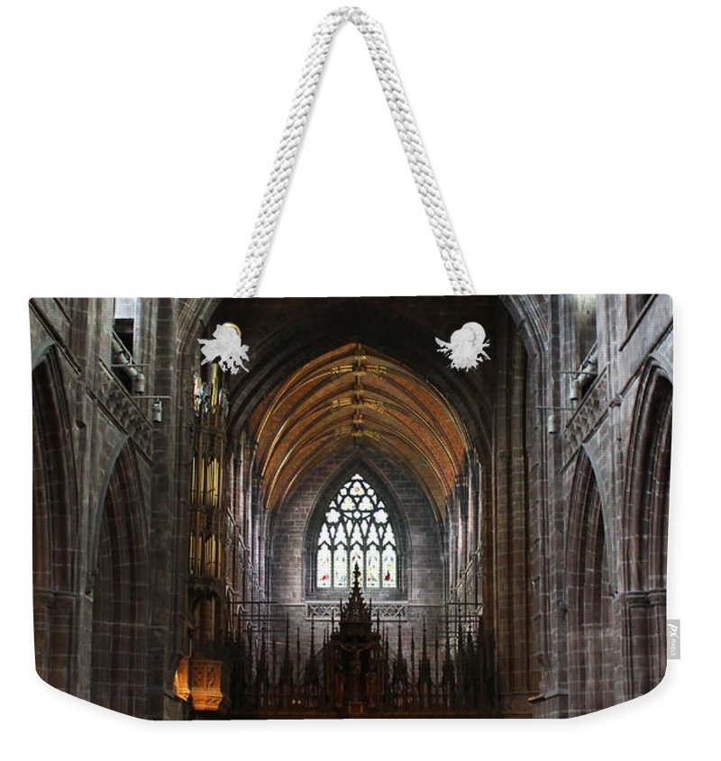 Chester Weekender Tote Bag featuring the photograph Chester Cathedral England Uk Inside The Nave by Robin Lewis