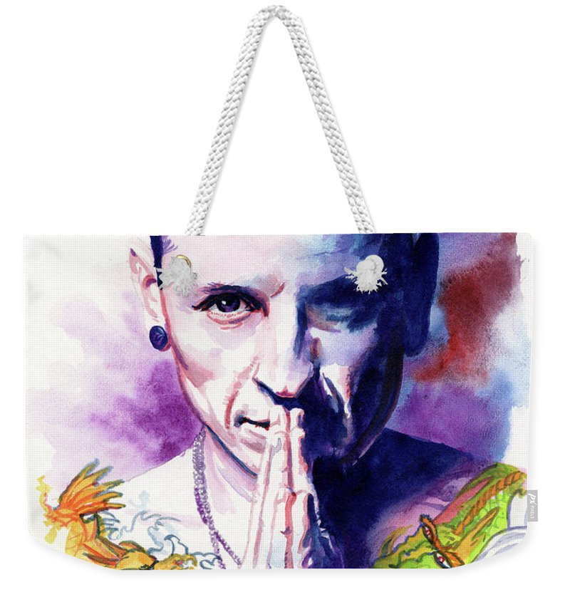 Linkin Park Weekender Tote Bag featuring the painting Chester by Ken Meyer