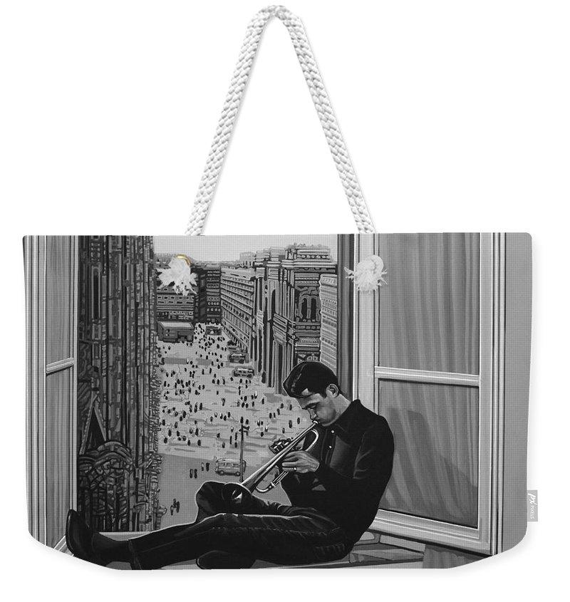 Chet Baker Weekender Tote Bag featuring the painting Chet Baker by Paul Meijering