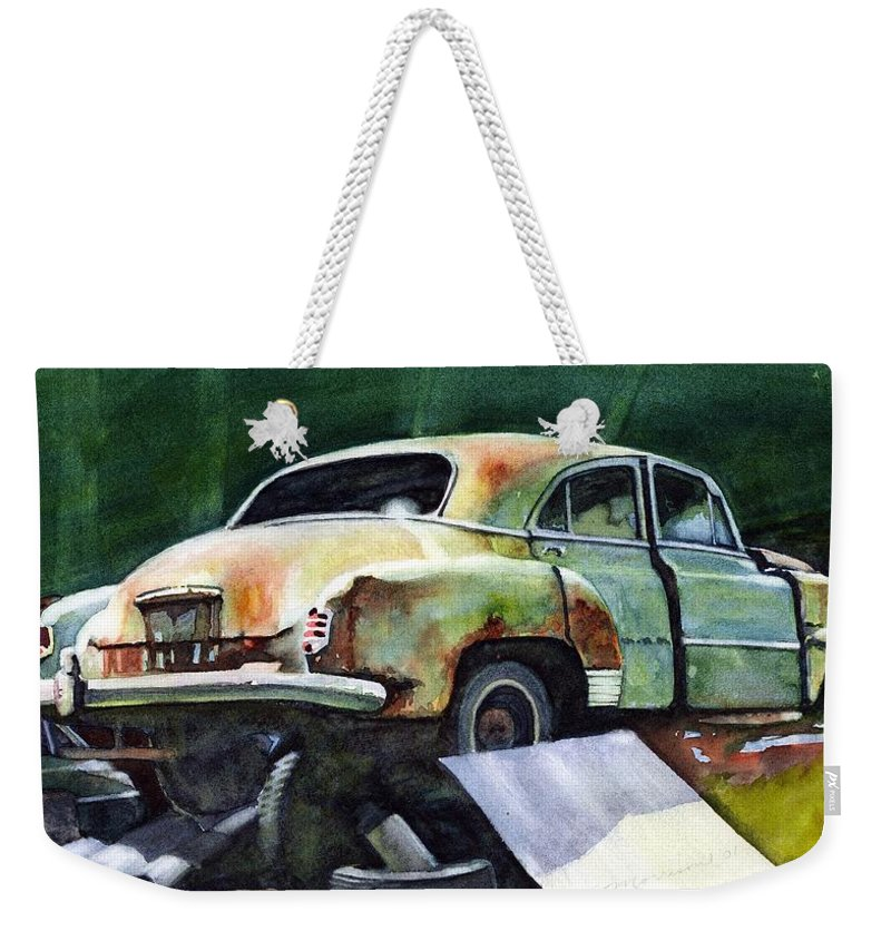 Chev Weekender Tote Bag featuring the painting Chev At Rest by Ron Morrison