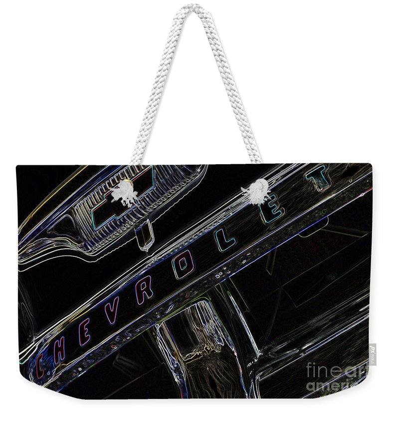 Chevrolet Weekender Tote Bag featuring the digital art Chevrolet 10 by Wendy Wilton