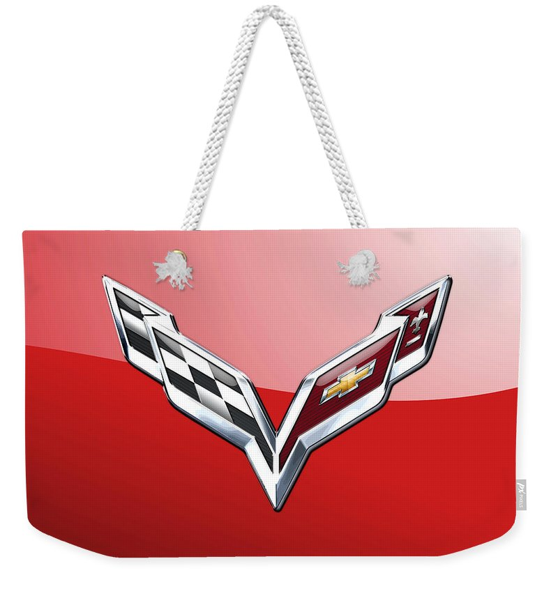 'wheels Of Fortune' Collection By Serge Averbukh Weekender Tote Bag featuring the photograph Chevrolet Corvette - 3d Badge On Red by Serge Averbukh
