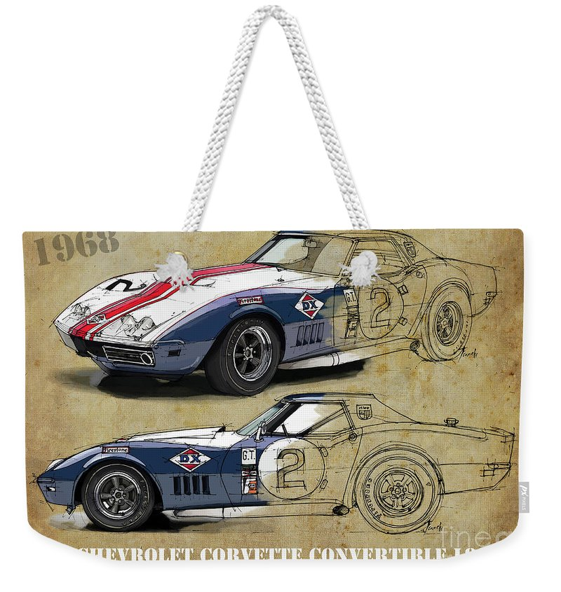 Ferrari Weekender Tote Bag featuring the digital art Chevrolet Corvette Convertible L88 1968,original Fast Race Car. Two Drawings, One Print by Drawspots Illustrations