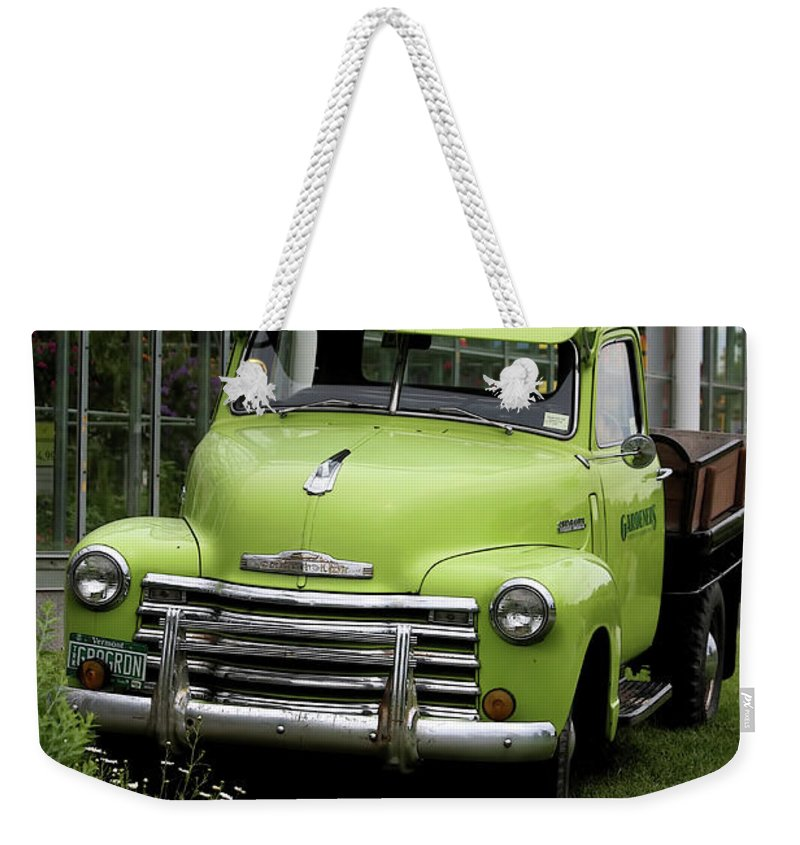 Taken In Vermont At The Nursery I Used To Go To. Weekender Tote Bag featuring the photograph Chevrolet Old by Deborah Benoit