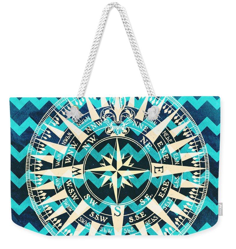 Brandi Fitzgerald Weekender Tote Bag featuring the digital art Chevron Print Compass Blue by Brandi Fitzgerald