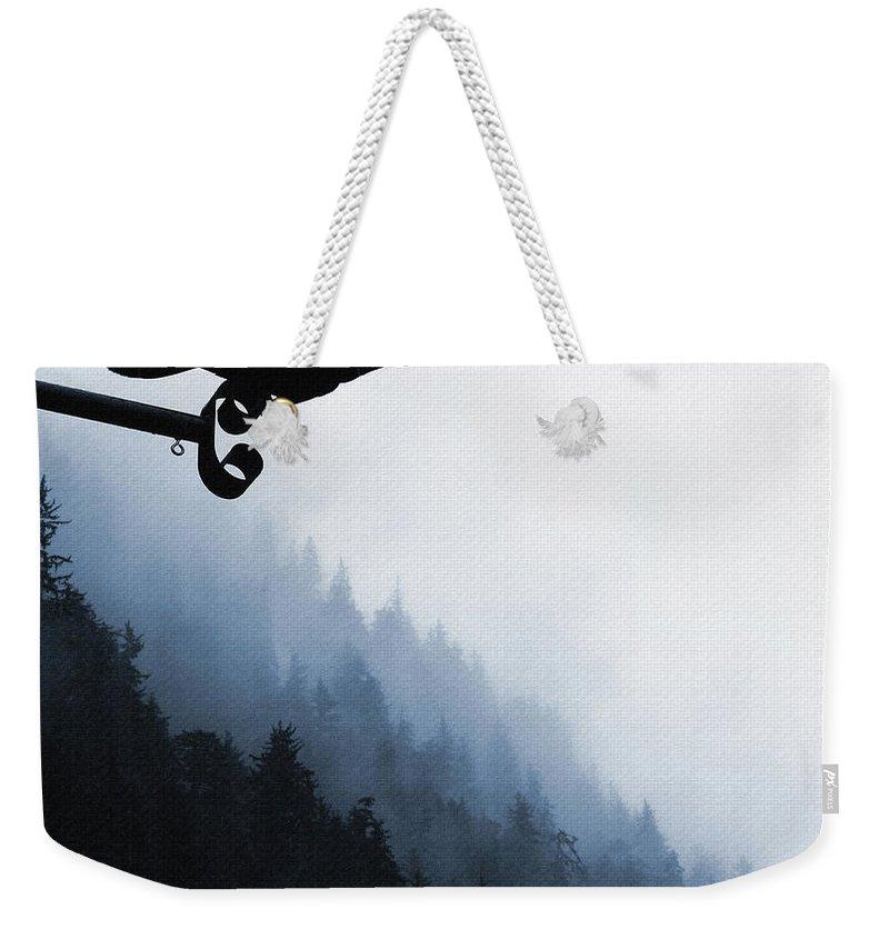 Raven Weekender Tote Bag featuring the digital art Chevron Raven by Perri Kelly