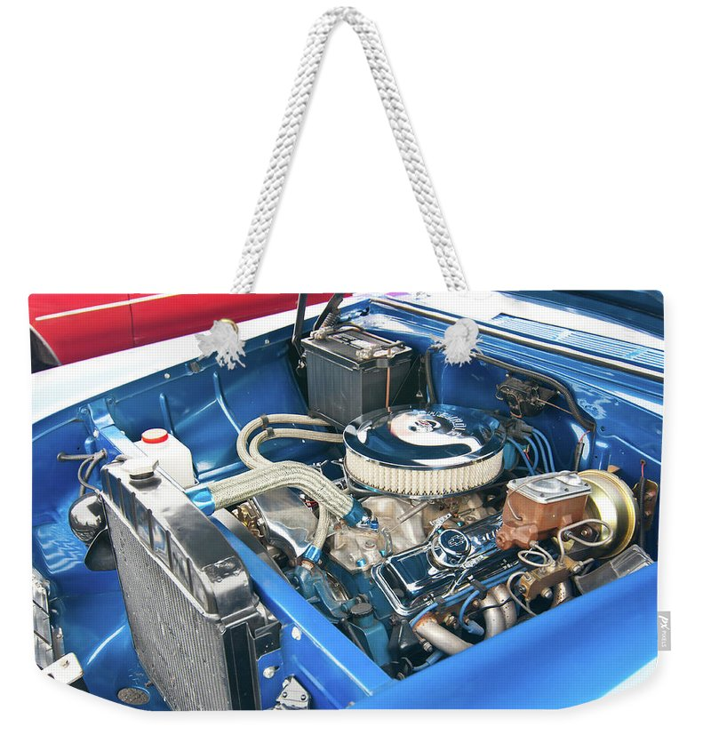 Antique Car Weekender Tote Bag featuring the photograph Chevy 2044 by Guy Whiteley