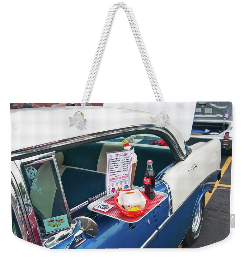 Antique Car Weekender Tote Bag featuring the photograph Chevy 2046 by Guy Whiteley