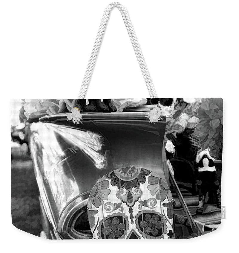 Dia De Los Muertos Weekender Tote Bag featuring the photograph Chevy Decor Day Of Dead Bw by Chuck Kuhn