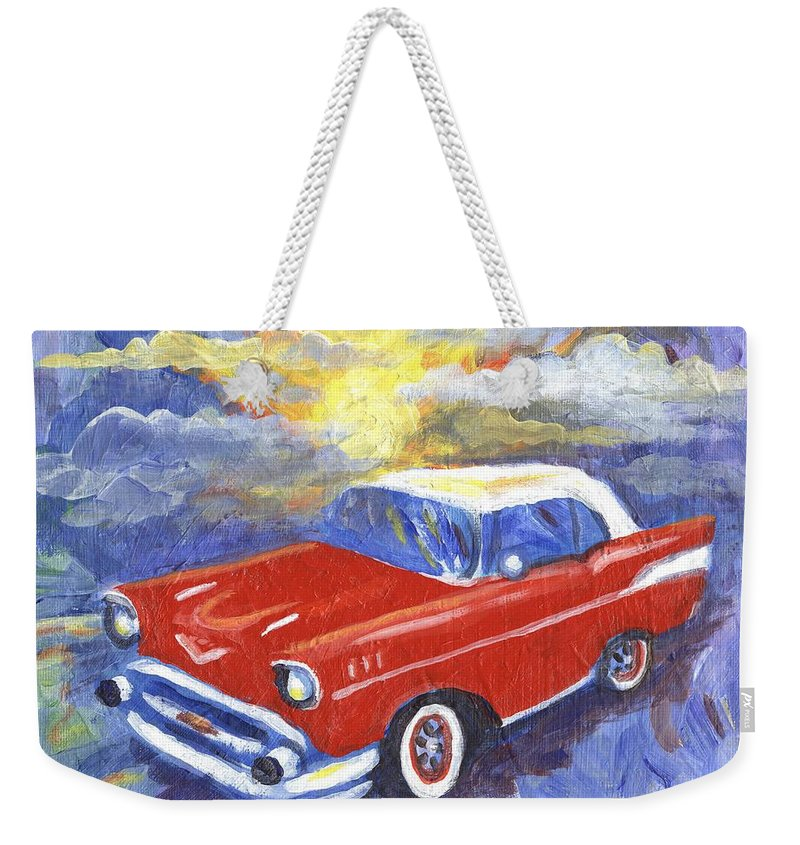 Car Weekender Tote Bag featuring the painting Chevy Dreams by Linda Mears