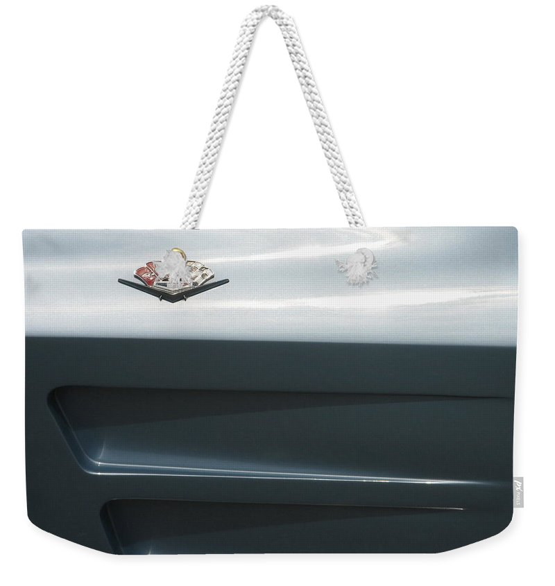Corvette Weekender Tote Bag featuring the photograph Chevy Silk by Kelly Mezzapelle