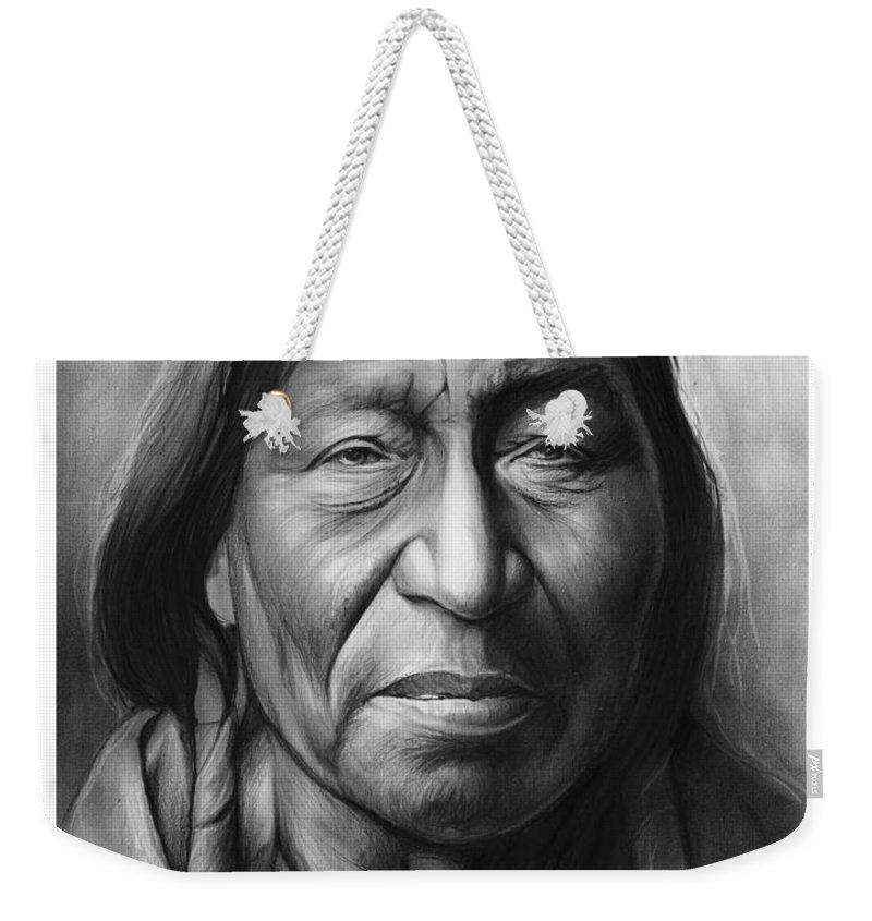 Indian Weekender Tote Bag featuring the drawing Cheyenne by Greg Joens