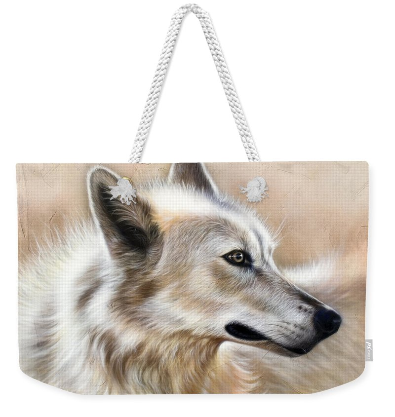 Acrylic Weekender Tote Bag featuring the painting Cheyenne by Sandi Baker