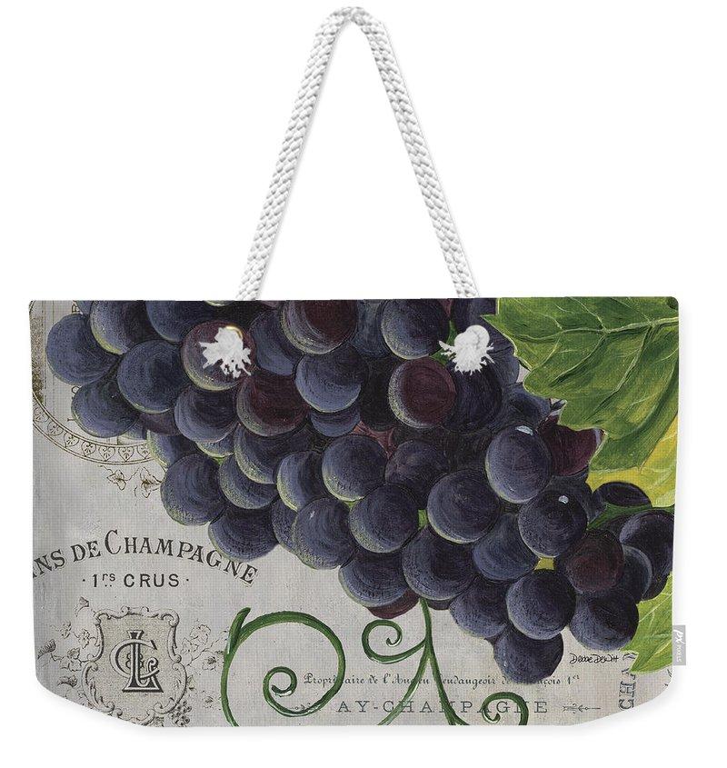 Grapes Weekender Tote Bag featuring the painting Vins de Champagne 2 by Debbie DeWitt