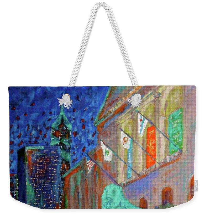 Chicago Art Institute Weekender Tote Bag featuring the painting Chicago Art Institute by J Loren Reedy
