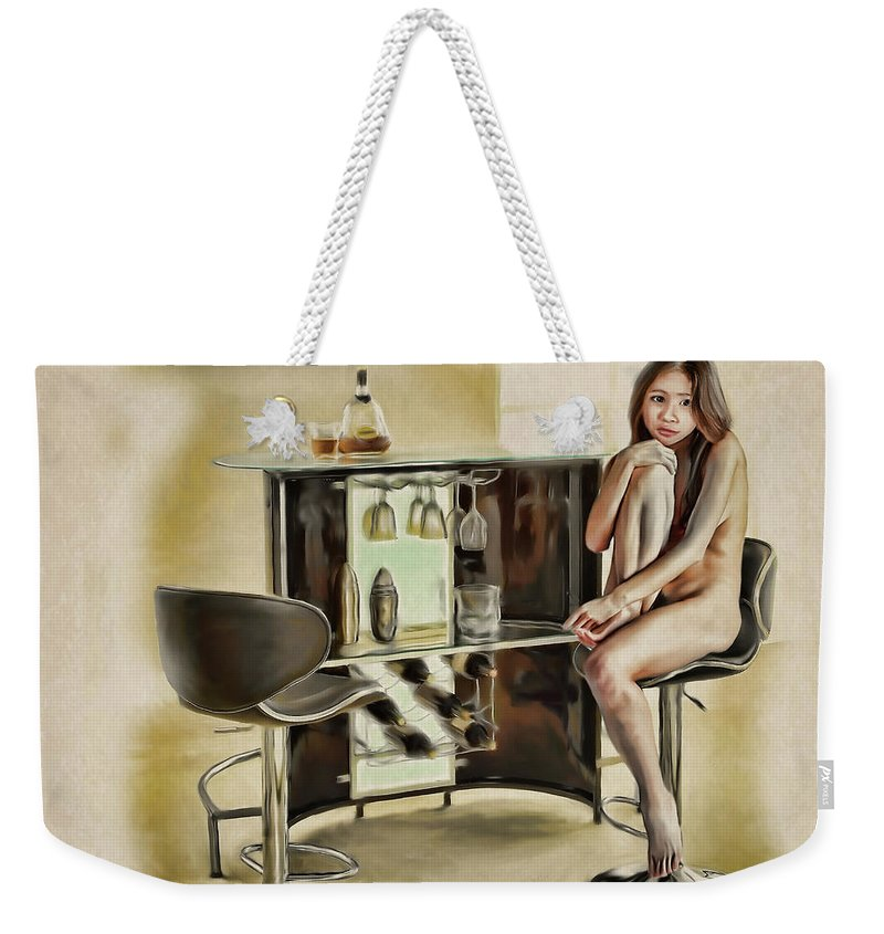 Salome Weekender Tote Bag featuring the painting Chicago - Asian American Series by Salome Hooper