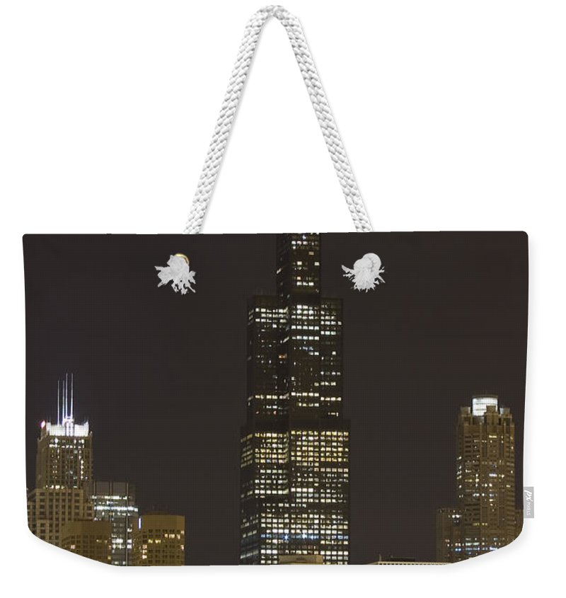 City Sky Skyline Wind Windy Windycity Il Chicago Night Dark Light Lights Street Building Tall House Weekender Tote Bag featuring the photograph Chicago At Night by Andrei Shliakhau