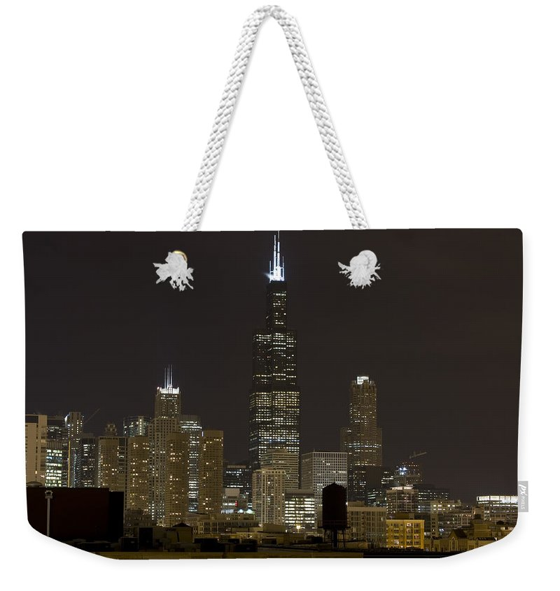 City Sky Skyline Wind Windy Windycity Il Chicago Night Dark Light Lights Street Building Tall House Weekender Tote Bag featuring the photograph Chicago At Night I by Andrei Shliakhau
