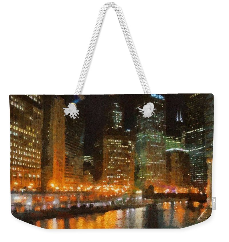 Chicago Weekender Tote Bag featuring the painting Chicago At Night by Jeffrey Kolker