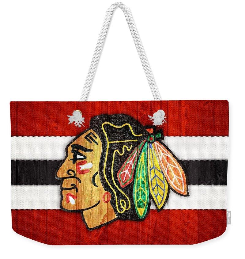 Chicago Blackhawks Barn Door Weekender Tote Bag featuring the digital art Chicago Blackhawks Barn Door by Dan Sproul