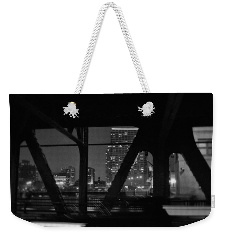 Chicago Weekender Tote Bag featuring the photograph Chicago Bridge Night by Kyle Hanson