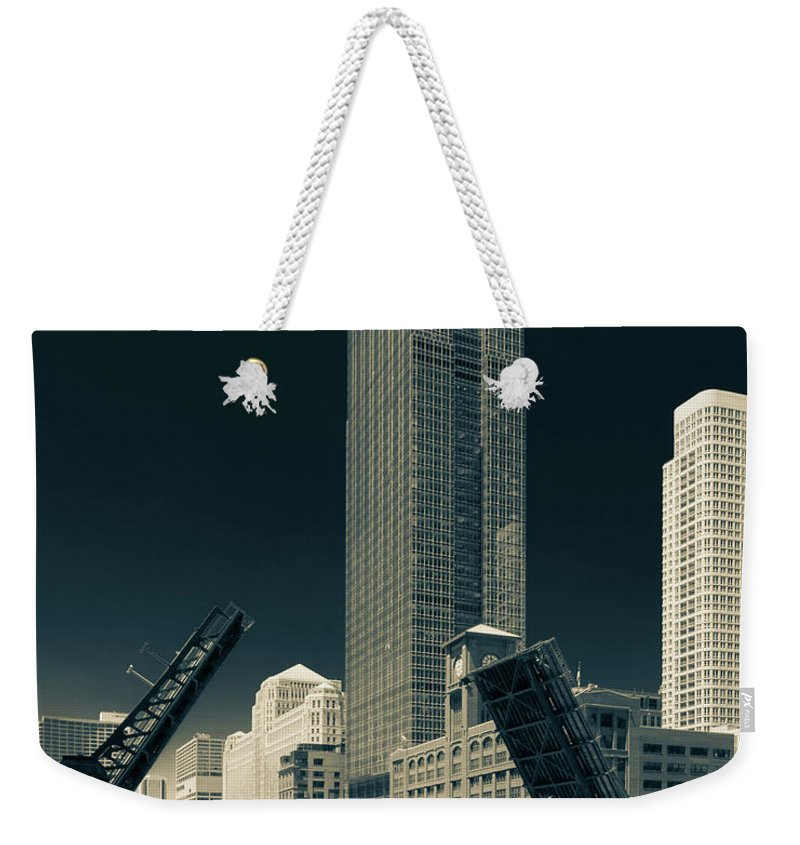 Chicago Weekender Tote Bag featuring the photograph Chicago Bridges-2 by Peter Karakehayov