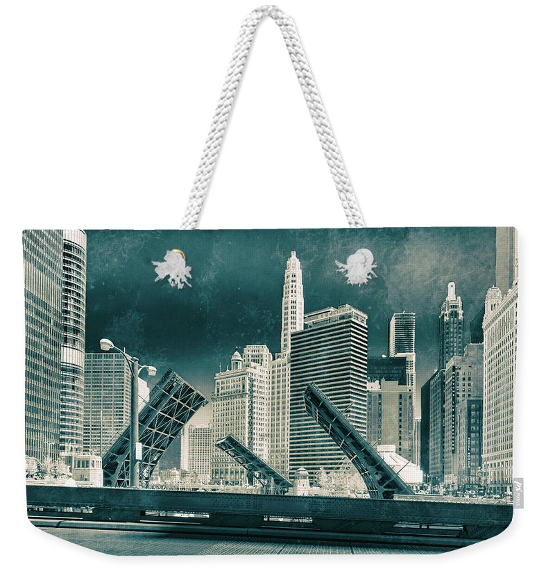 Chicago All Weekender Tote Bag featuring the photograph Chicago Bridges by Peter Karakehayov