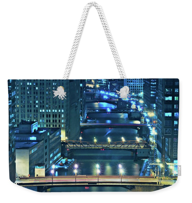 Chicago Weekender Tote Bag featuring the photograph Chicago Bridges by Steve Gadomski