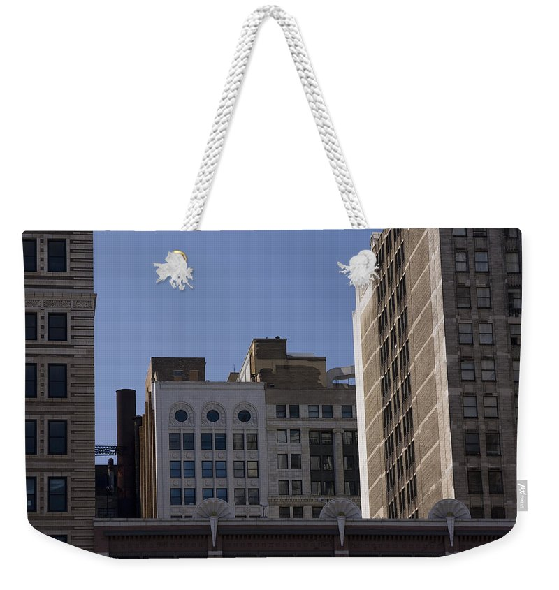 Chicago City Wind Windy Metro Urban Building Blue Sky Tall Big Windows Weekender Tote Bag featuring the photograph Chicago Buildings by Andrei Shliakhau