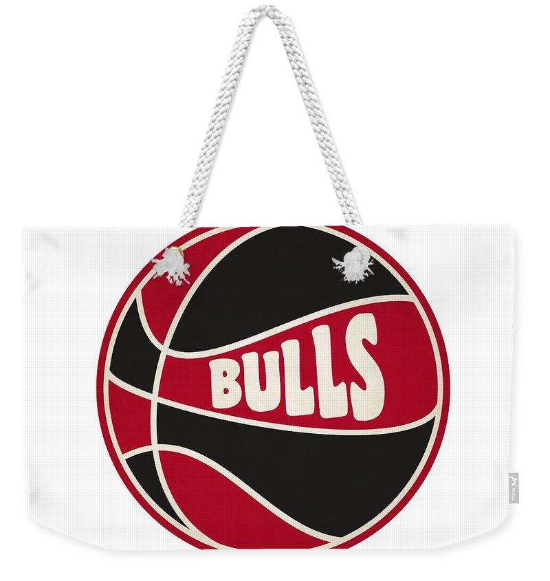 Bulls Weekender Tote Bag featuring the photograph Chicago Bulls Retro Shirt by Joe Hamilton