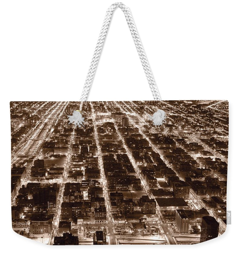 Aerial Weekender Tote Bag featuring the photograph Chicago City Lights West B W by Steve Gadomski