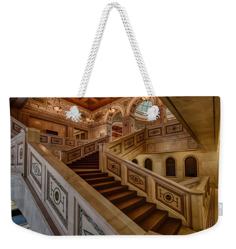 Chicago Cultural Center Weekender Tote Bag featuring the photograph Chicago Cultural Center Stairs by Mike Burgquist