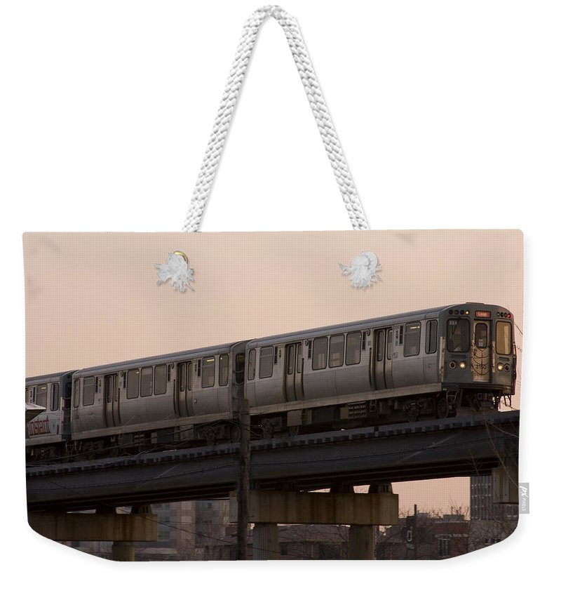 Chicago Windy City El Elevated Train Urban Metro Passanger Transport Transportation Weekender Tote Bag featuring the photograph Chicago El by Andrei Shliakhau