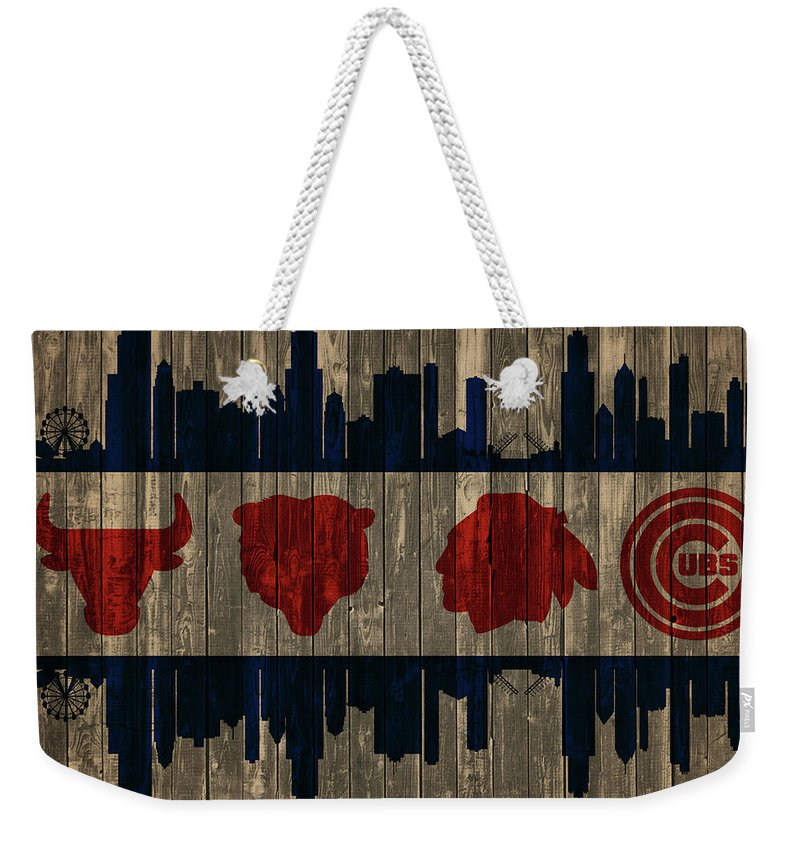 Chicago Flag Barn Door Weekender Tote Bag featuring the mixed media Chicago Flag Barn Door by Dan Sproul