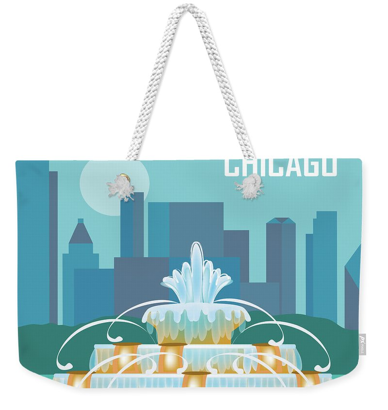 Chicago Weekender Tote Bag featuring the digital art Chicago Illinois Horizontal Skyline - Buckingham Fountain by Karen Young