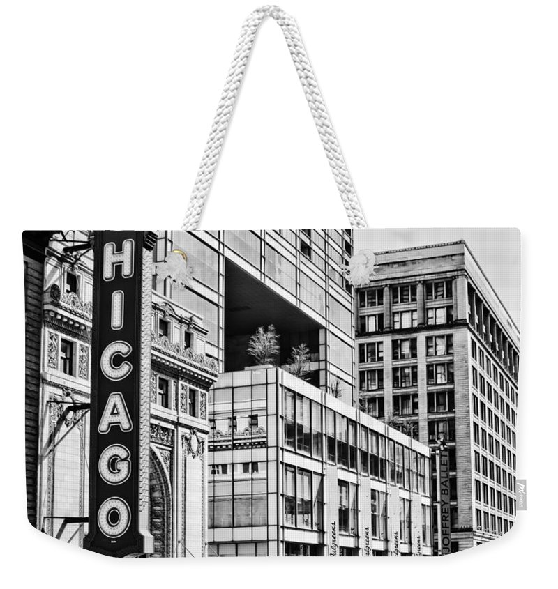 Chicago Weekender Tote Bag featuring the photograph Chicago In Black And White by Emily Kay