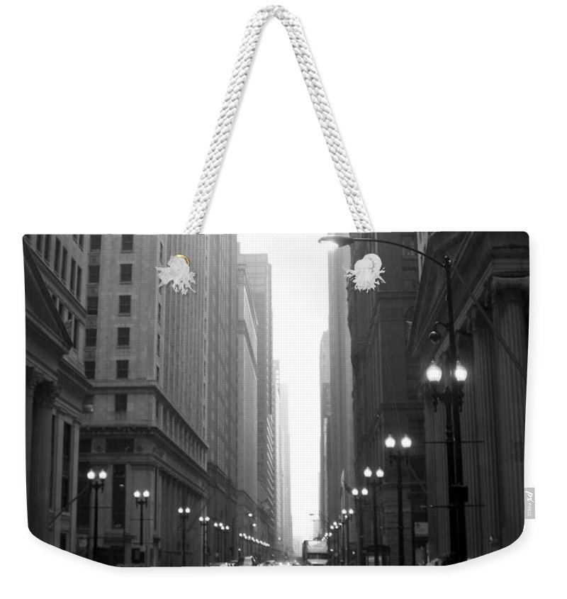 Chicago Weekender Tote Bag featuring the photograph Chicago In The Rain 2 B-w by Anita Burgermeister