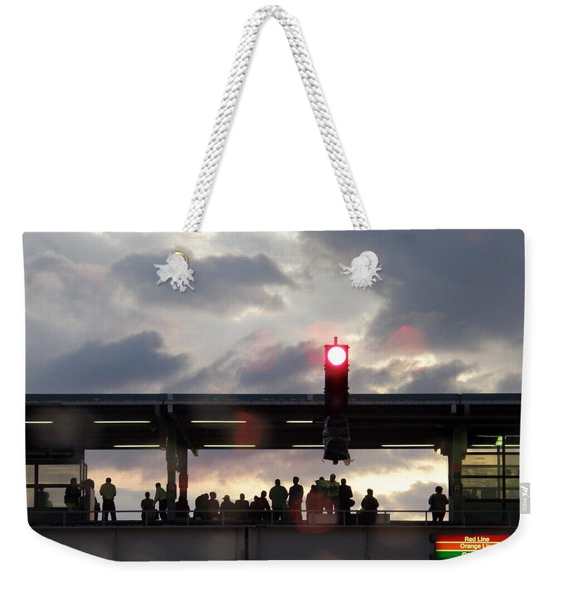 L Train Weekender Tote Bag featuring the photograph Chicago L Train by Albert Stewart