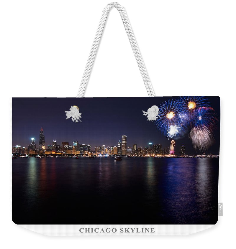4th Weekender Tote Bag featuring the photograph Chicago Lakefront Skyline Poster by Steve Gadomski