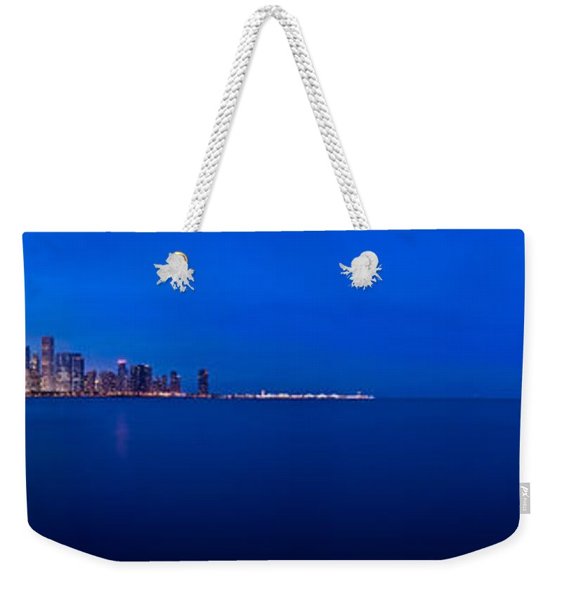 Architecture Weekender Tote Bag featuring the photograph Chicago Lakefront Ultra Wide Hd by Steve Gadomski