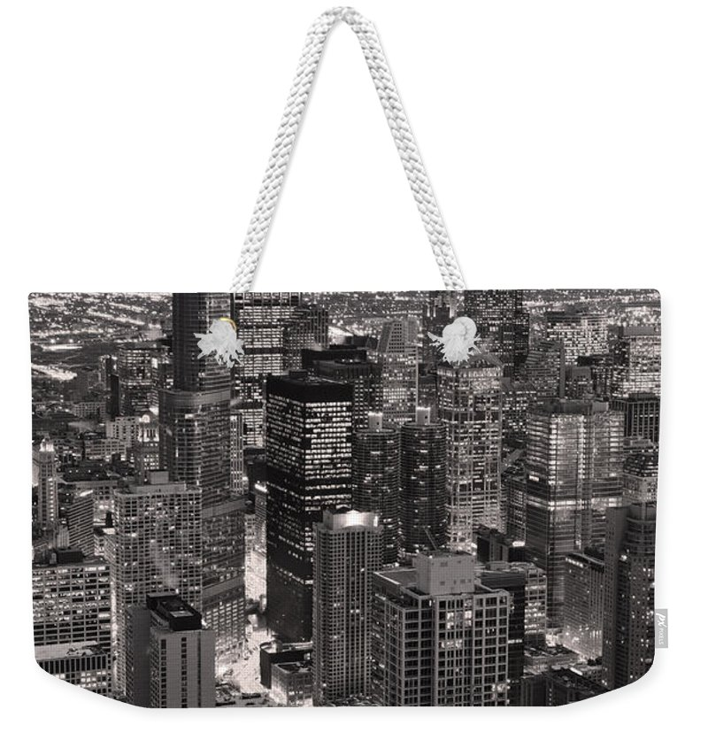 Aerial Weekender Tote Bag featuring the photograph Chicago Loop Sundown B And W by Steve Gadomski