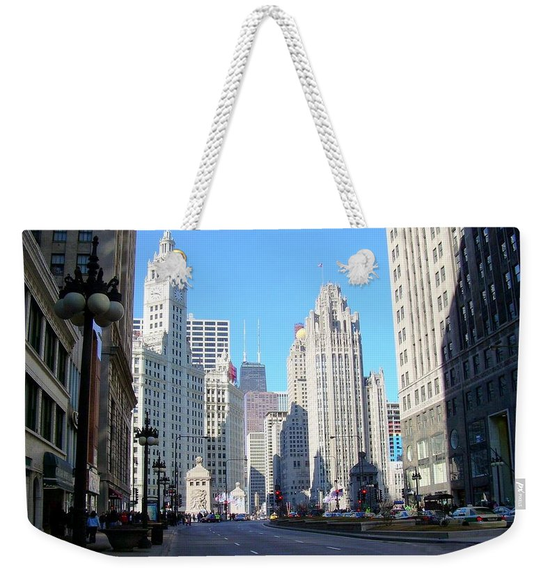 Chicago Weekender Tote Bag featuring the photograph Chicago Miracle Mile by Anita Burgermeister