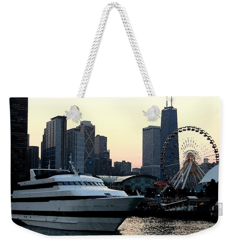 Photo Weekender Tote Bag featuring the photograph Chicago Navy Pier by Glory Fraulein Wolfe