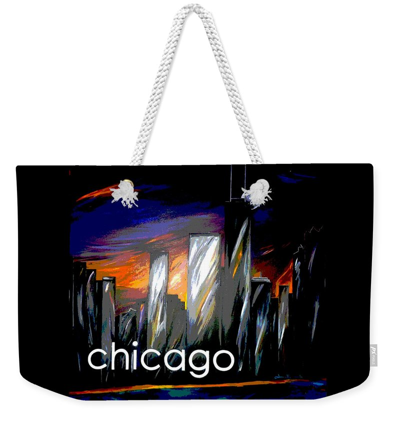 Chicago Weekender Tote Bag featuring the painting Chicago Night Skyline by Jean Habeck