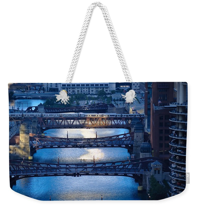 Bridge Weekender Tote Bag featuring the photograph Chicago River First Light by Steve Gadomski
