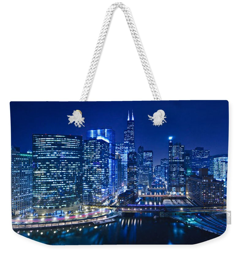 Chicago Weekender Tote Bag featuring the photograph Chicago River Panorama by Steve Gadomski