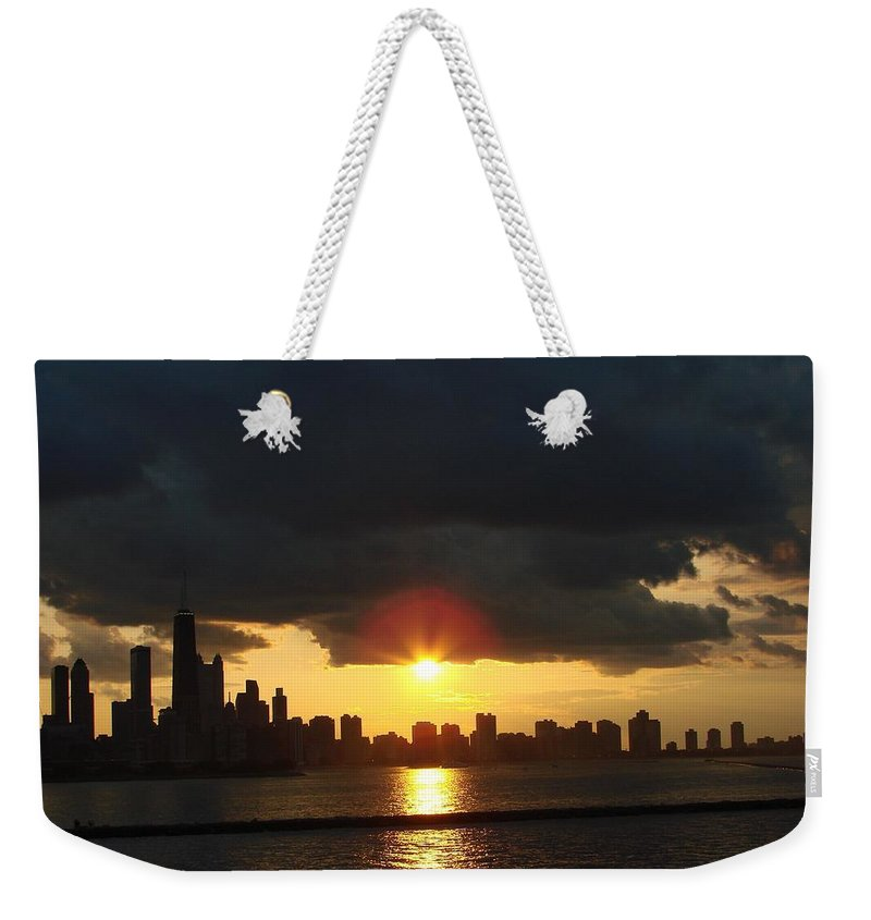 Chicago Weekender Tote Bag featuring the photograph Chicago Silhouette by Glory Fraulein Wolfe
