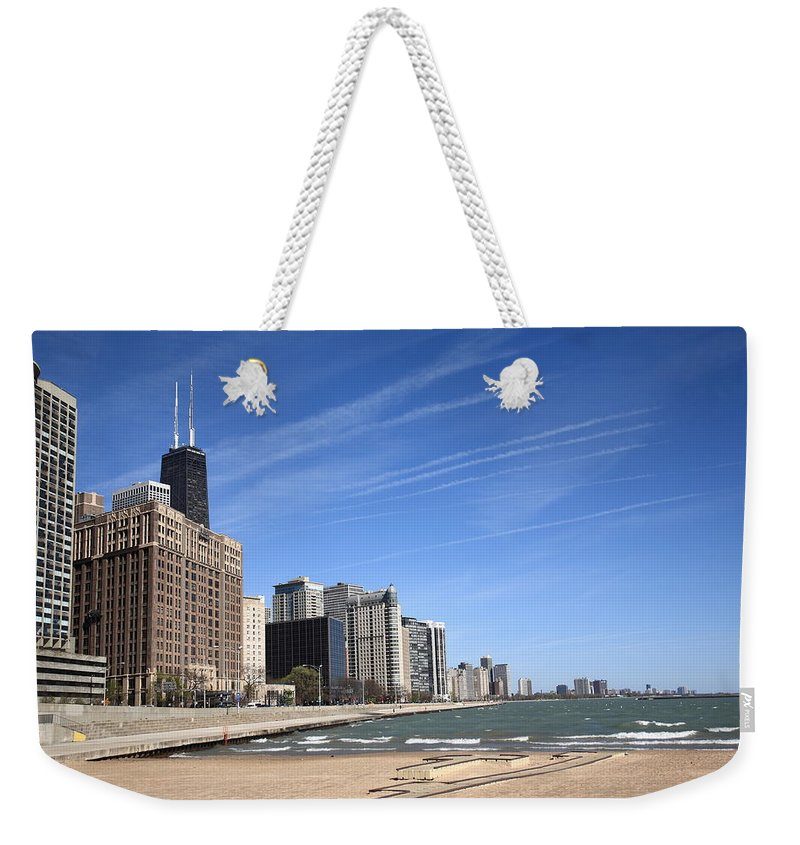 America Weekender Tote Bag featuring the photograph Chicago Skyline And Beach by Frank Romeo